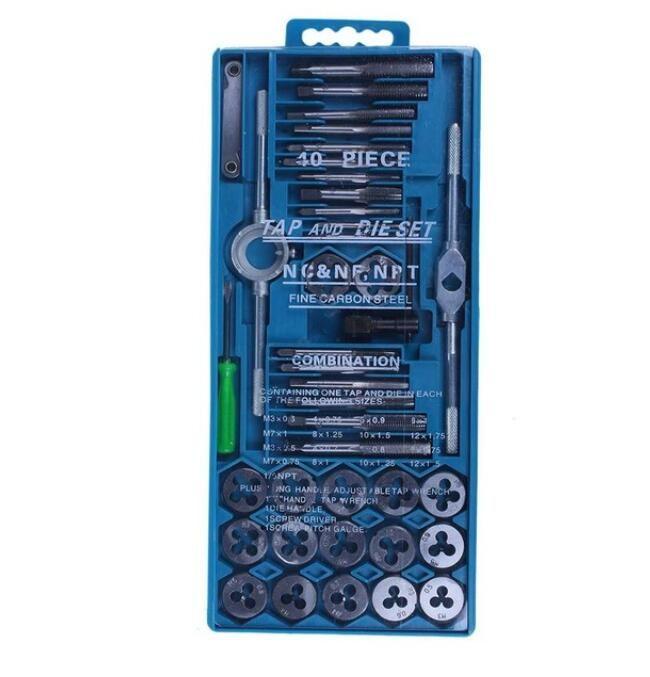 40pcs tap die set M3-M12 filettatura metrica rubinetti chiave Dies kit fai da te vite chiave strumenti di filettatura utensili lega metallo con sacchetto