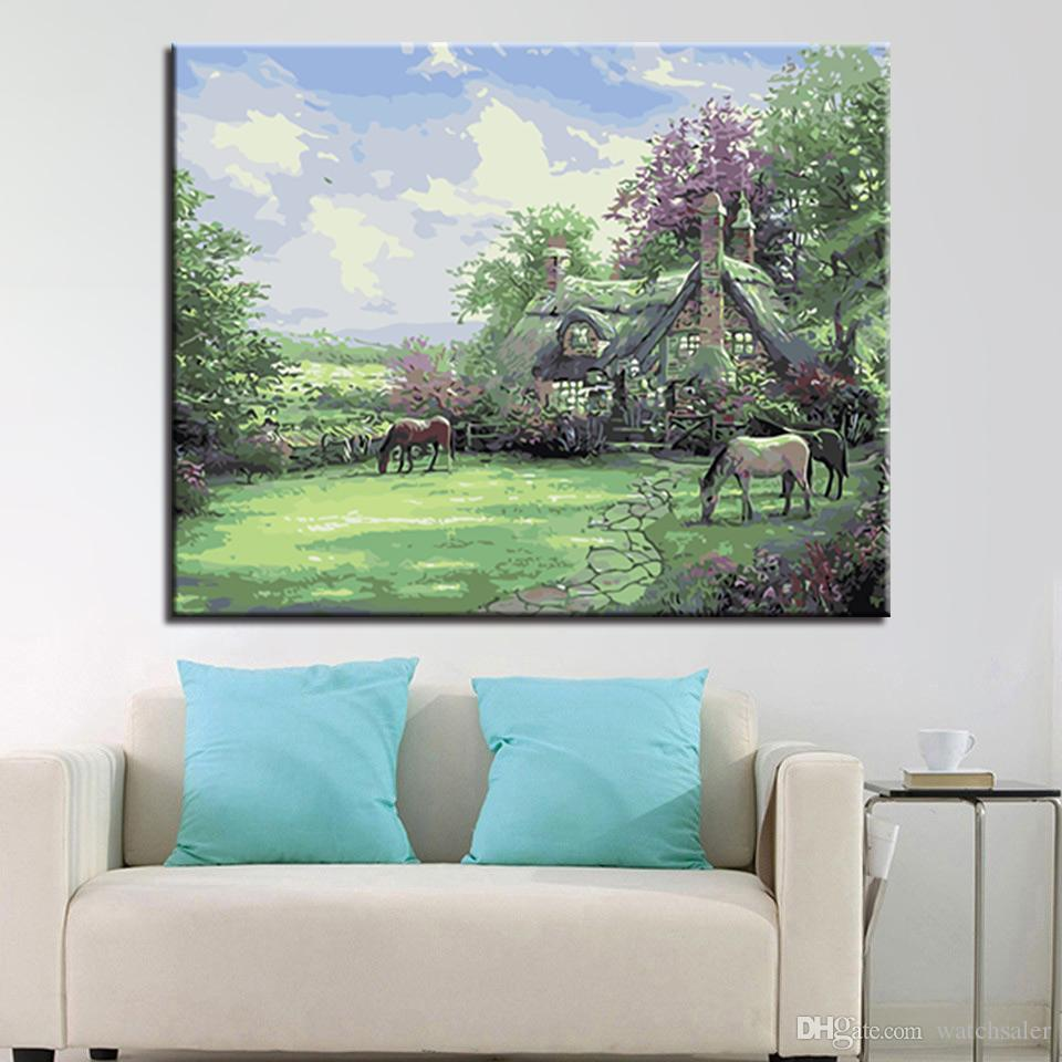 Green Rural House DIY Painting By Numbers Acrylic Hand Paint Home Decor Wall Art Coloring Horse Oil Pictures Unique Gift Artwork