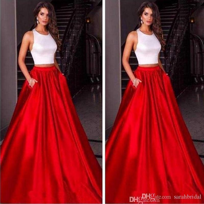 Холтер Роскошная красная юбка из двух частей платья для выпускного вечера Атласная Обычай Вечерние платья Вечерняя одежда Вечерние платья без рукавов
