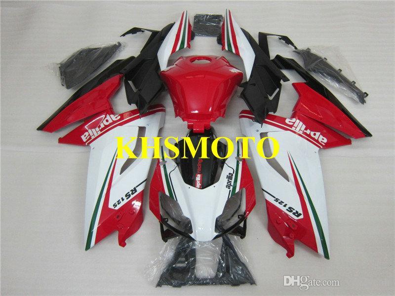 Kit de matrizes para Aprilia RS125 06 07 08 09 10 11 RS 125 2006 2011 ABS Vermelho Branco Carenagens set AA07