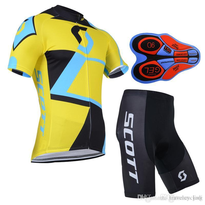 2019 New Scott Cycling Jersey Set Short Sleeves Bike Wear Quick Dry 9D Gel Pad Compressed Bike Wear XS-4XL Bicycle Clothing Y052702