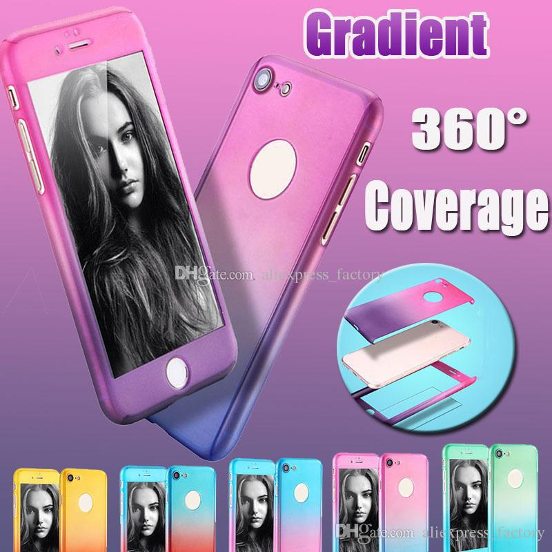 360-Grad-Abdeckung Full Body Schutz Ultra-Gradient Hard Full Cover Hülle mit gehärtetem Glas für iPhone XS Max XR X 8 7 6 6S Plus 5 5S