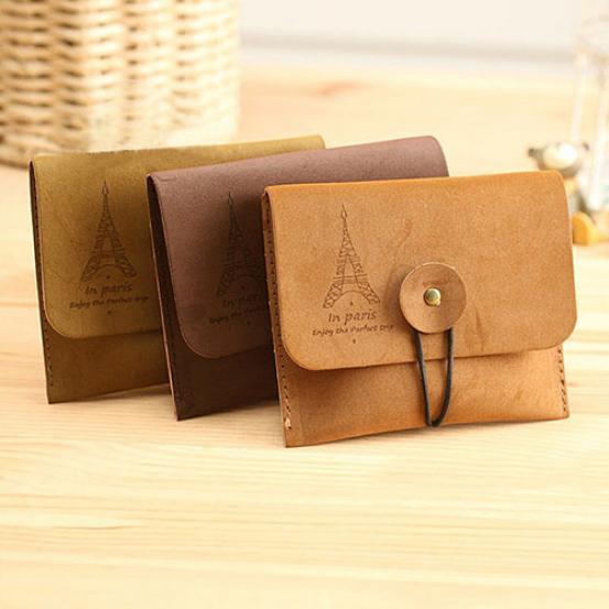 Laamei Para Key Çanta Kadın Erkek Vintage Kule Küçük Katlama Anahtar Kılıfı Cüzdan Çanta Bayan Cüzdanlar ve Çantalar