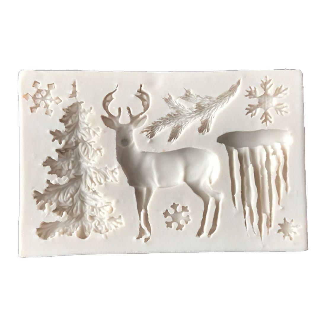 CORADO Útil Árbol de navidad Elk Copo de nieve Molde de silicona Molde de chocolate para hornear jalea Herramientas artesanales Fondant Cake Decorating