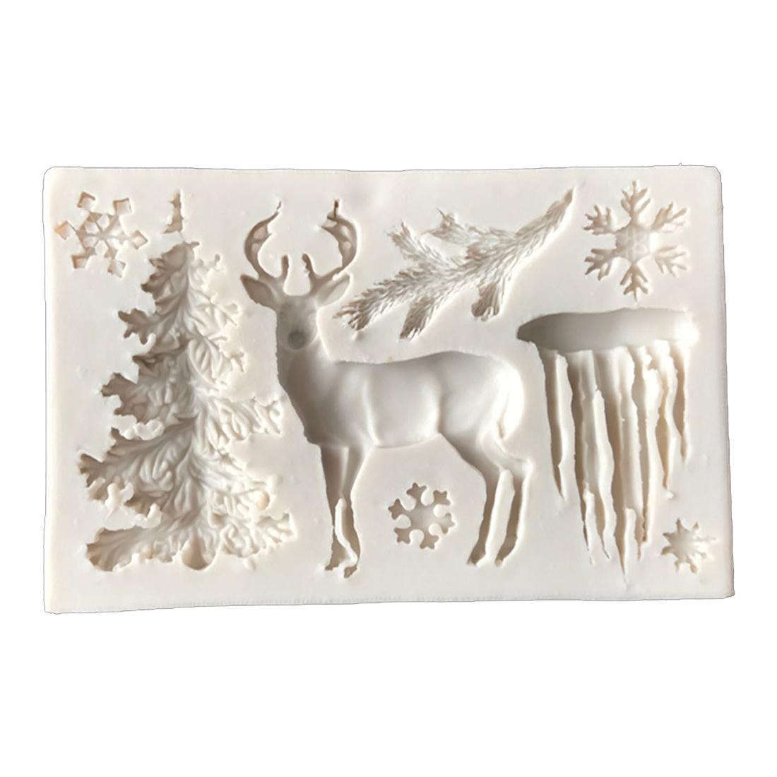 CORATED مفيدة شجرة الأيائل ندفة الثلج سيليكون قالب الشوكولاته جيلي الخبز العفن السكر الأدوات الحرفية فندان تزيين الكعكة
