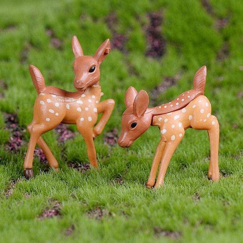Veados dos desenhos animados Animais Bonitos Jardim Miniaturas Micro Paisagem Bonsai Planta Jardim DIY Artesanato Ornamento Home Decor Artesanato