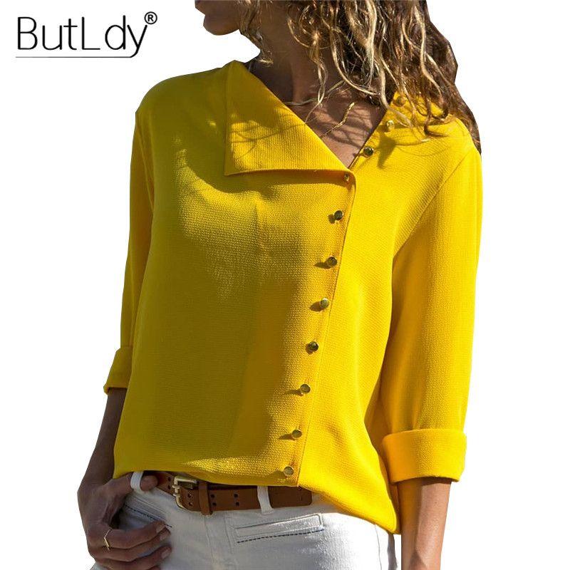 불규칙한 비뚤어 짐 칼라 단추 블라우스 셔츠 여성 가을 긴 소매 노란색 캐주얼 여성상의와 블라우스 화이트 여성 셔츠