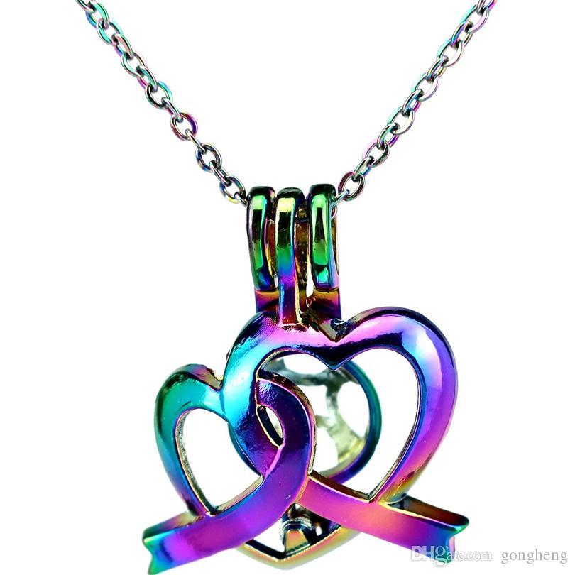C819 COLORES Arco iris Color Doble Corazón Romance Diversión Cadena de acero inoxidable Suerte Regalo Difusor de aceites esenciales