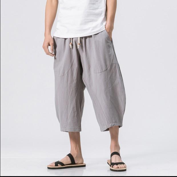 Großhandel Herren Leinen Hosen Mode Herren Elastische Taille Breites Bein Baumwolle Harem Baggy Herren Hosen Patchwork Leinen Capri Hose Hose Männer