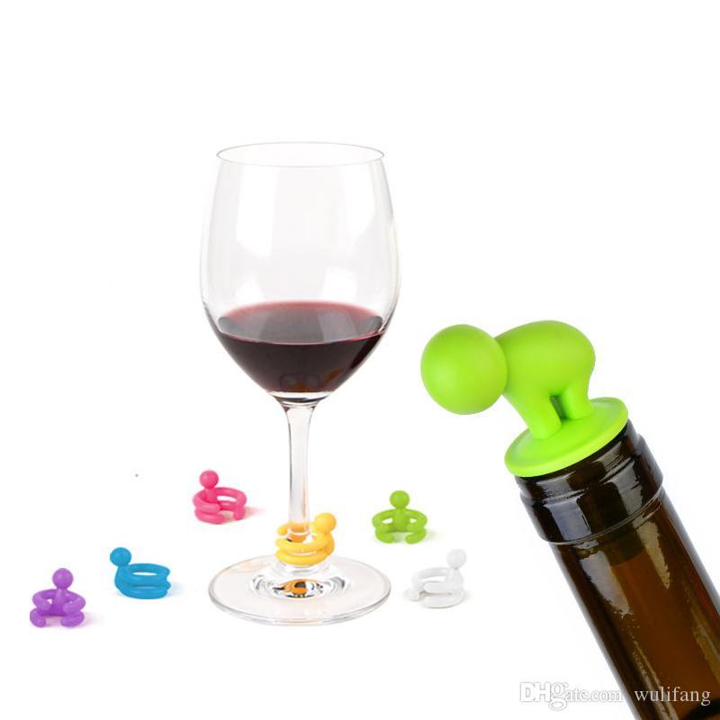 7 PS / Set Mini tapón de botella de vino plástico de la categoría alimenticia linda con los accesorios del vino del marcador de la taza del vidrio de vino (color al azar)