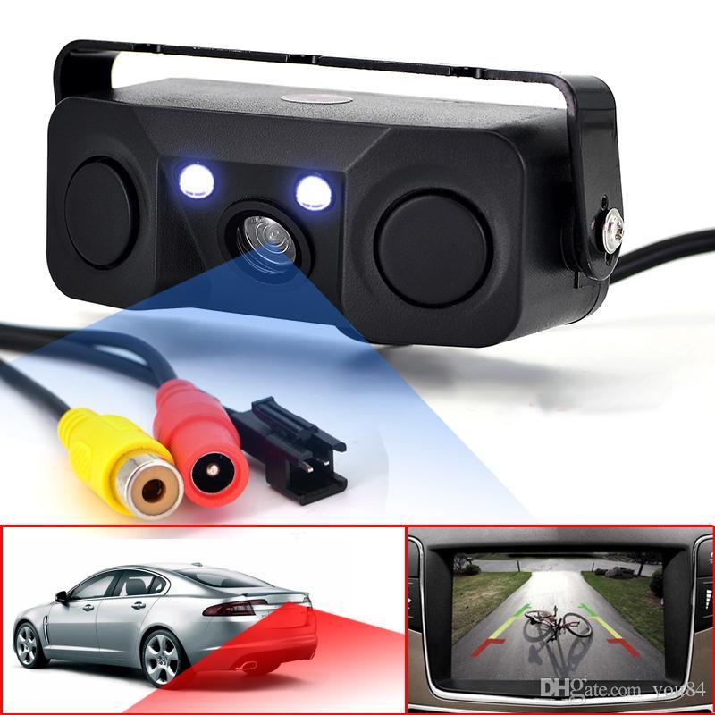 Car Backup Parking Radar Rear View Camera With Parking Sensor 3-In-1