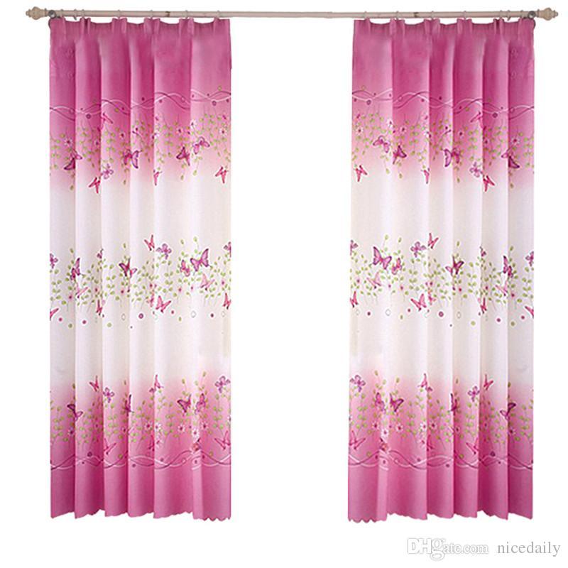 2 Pannelli Farfalla Fiori Stampati Pannelli per tende con ganci per camera da letto Salotto Camerette per bambini Nursery Window Drapes - 100 x200cm