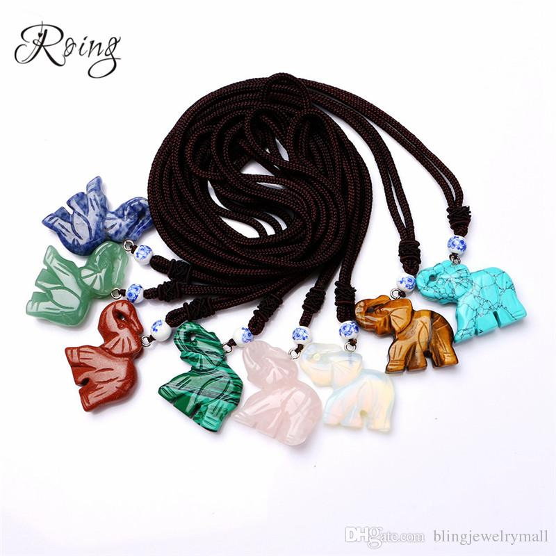 Roing Crystal Natural Stone Party Necklace Elephant Pendant Necklace Jewelry Gem Peridot Opal Design Gift N003