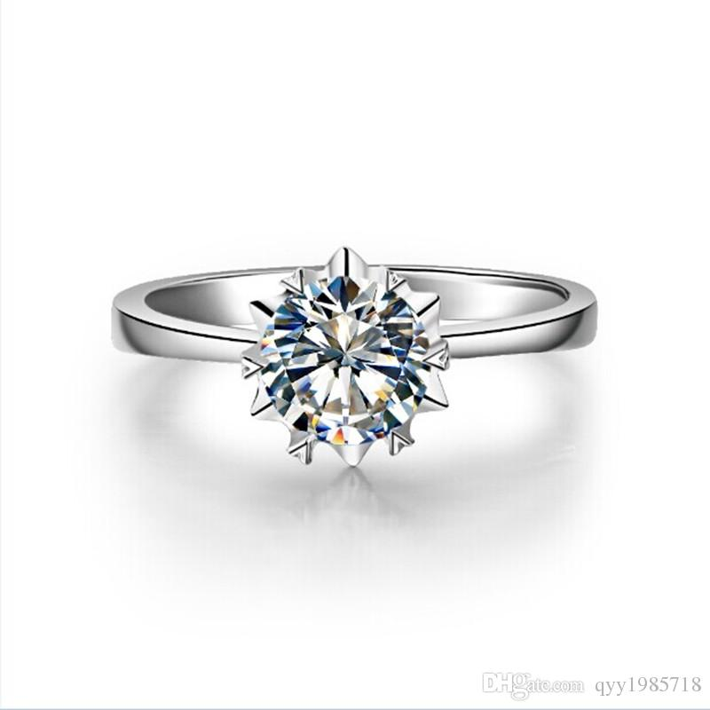 1CT Clássico Das Mulheres Anéis de Noivado Rodada SONA Anel De Diamante Sintético 925 Sterling Silver Pt950 Proposta Estampada Anel De Noiva