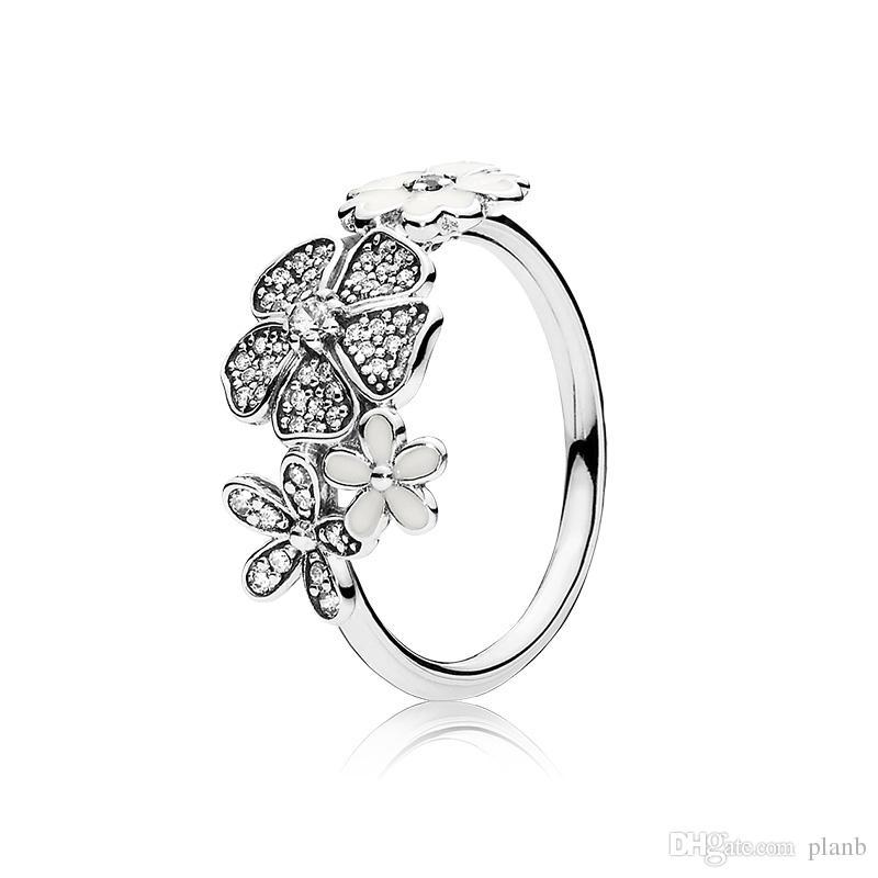 Otantik 925 Gümüş Beyaz emaye Çiçekler HALKA Pandora Için Güzel Kadınlar Alyans Takı Ile Orijinal Kutusu