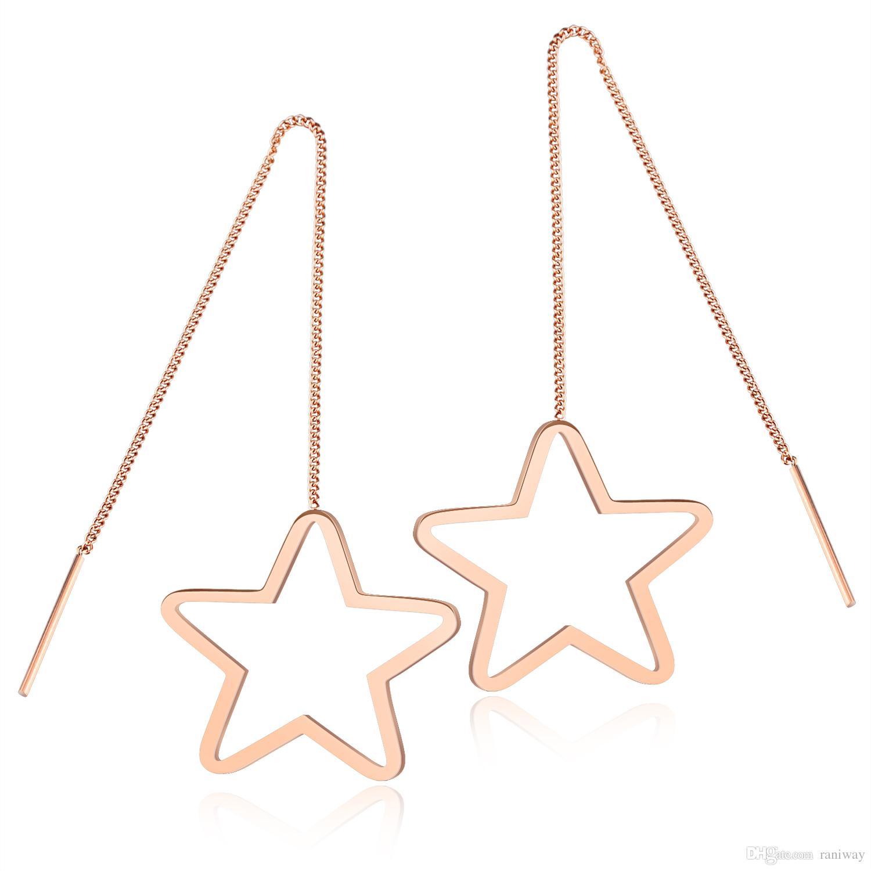Eleganti orecchini a goccia a stella in acciaio inossidabile oro rosa lunghi per orecchini da donna, orecchini ipoallergenici e da sposa