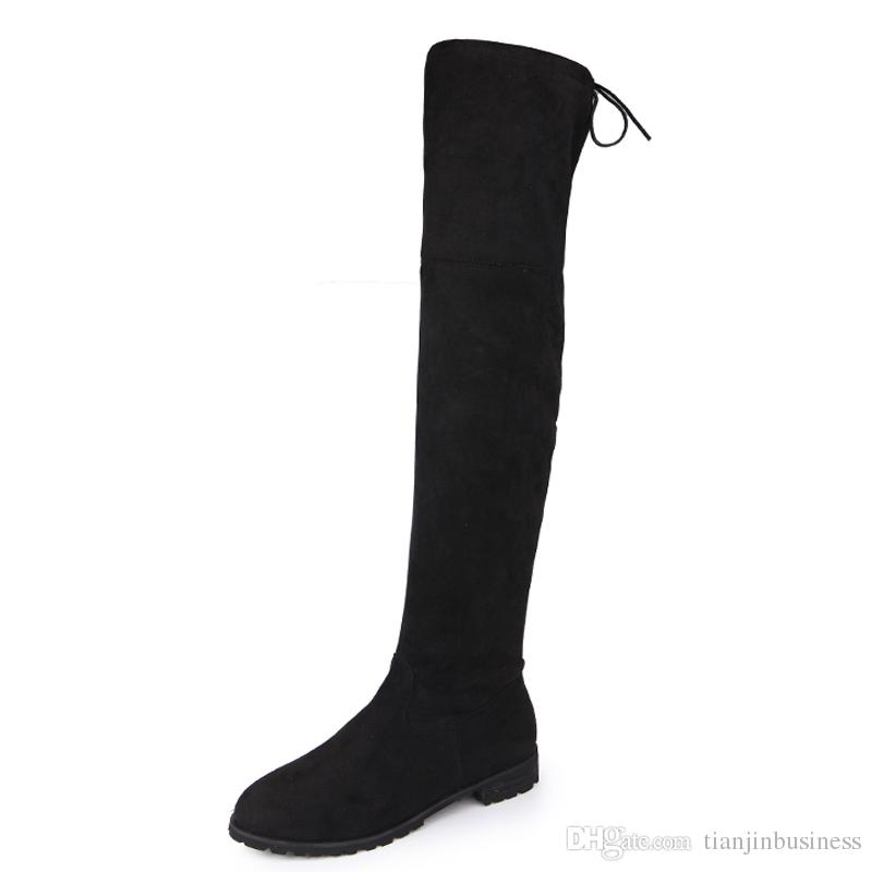 2018 Over The Knee Boots Square Med Heel Women Boots Sexy Ladies Lace Up Stretch Fabric Fashion Boots Black Size 35-43 YEE3321