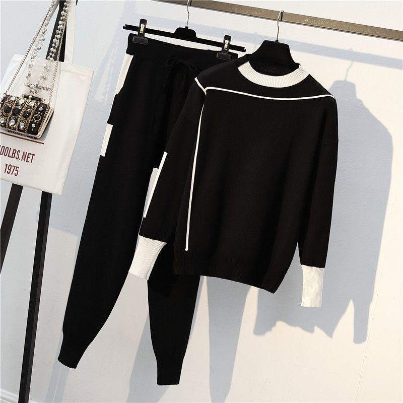 2018 الشتاء المرأة محبوك 2 قطعة مجموعة كم طويل الرقبة يا ملابس رياضية البلوز سترة وبانت جيب البدلة 2 PCS تتسابق زائد الحجم