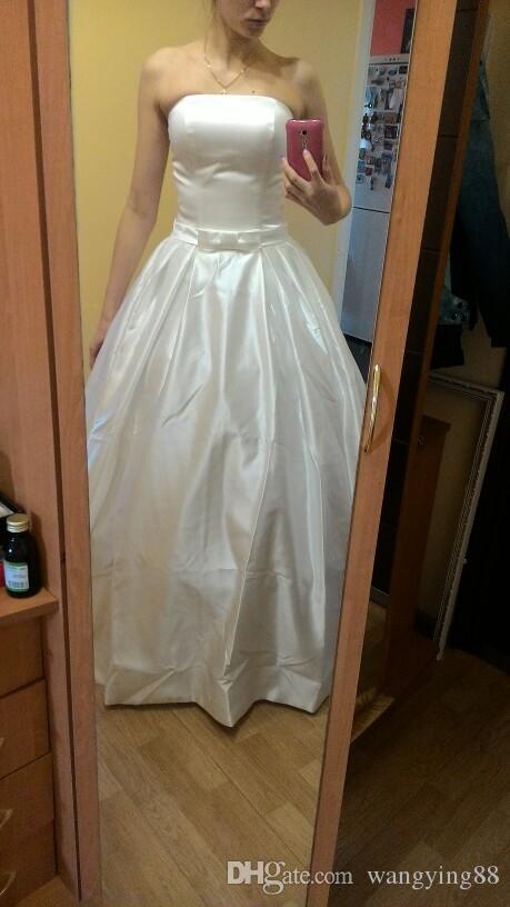 A Line Abiti da sposa 2018 Vintage Tasche Bow Cina Vestidos De Novia Backless Plus Size pulsante sposa abiti da sposa