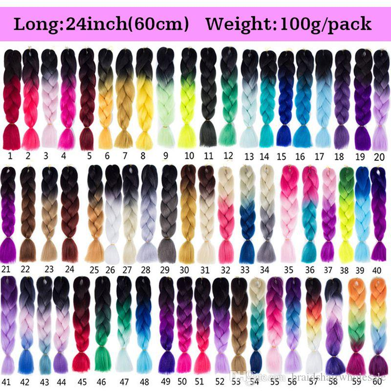 High Quality Kanekalon Hair 24Inch 100g/Pack Synthetic Jumbo Braids hair Ombre Crochet Braiding Hair Extensions African Hairstyle