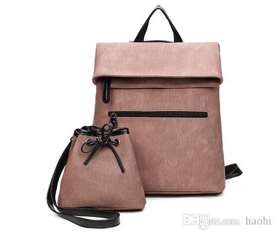 Famosa marca Mujeres Mochila Diseñador Pu Mochila de cuero Famale Travel School Bolsas para adolescentes Sac a Dos Bag Set Mochila Bolsa madre