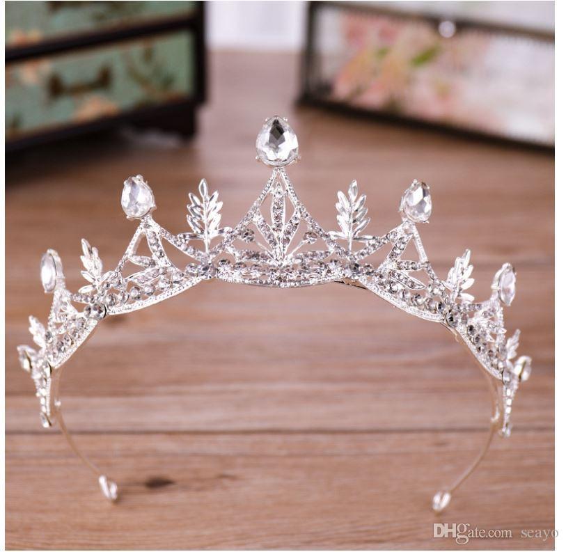Nouvelle couronne européenne et américaine de diamants chauds, couronne de princesse blanche, couronne d'anniversaire en gros, vente directe d'usine