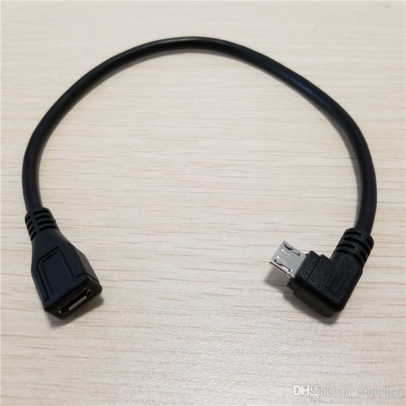 90 Grad rechtwinklig 5Pin Micro-USB-Stecker auf Buchse Erweiterung Daten-Sync-Ladekabel 25cm