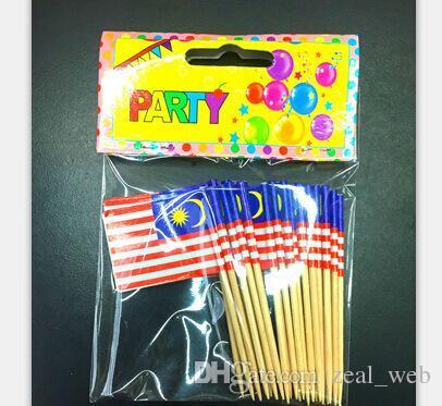 월드컵 국기 이쑤시개 칵테일 스틱 음식은 컵 케이크 토핑 임의의 국가 가방을 100PCS 시설