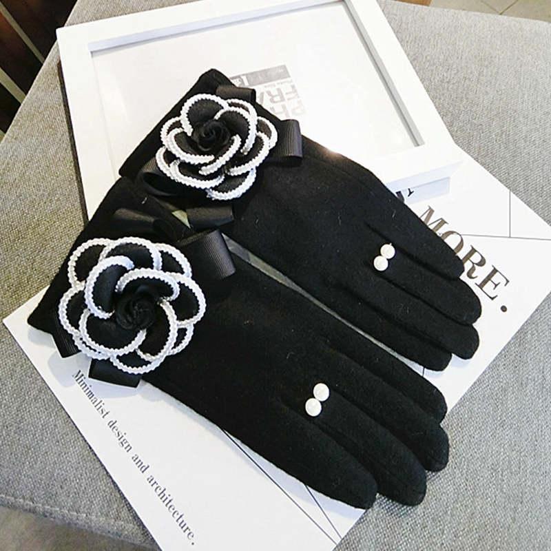 Cachemira gruesa pantalla táctil suave guantes mujeres invierno cálido mitones damas oficina informal eldiven invierno guantes muyer al por mayor