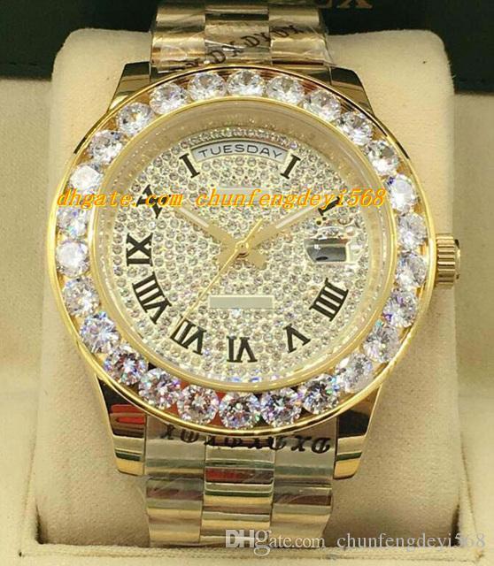 Luksusowe zegarki 2 Styl 18k Yellow Gold Diamond Dial 41mm Większy Diament Bezel Automatyczne Moda Marka Męska Zegarek Zegarek