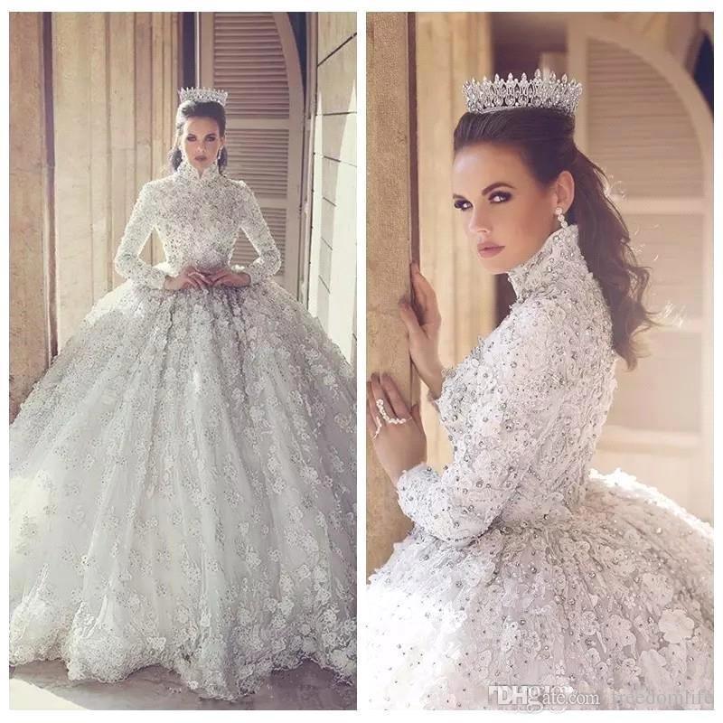 Vestiti Da Sposa We Heart It.Luxury Abiti Da Sposa Beaded Crystal Ball Gown Wedding Dresses 3d