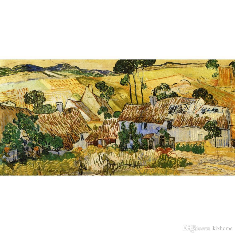 Ручная роспись пейзажи искусство соломенные дома на холме Винсент Ван Гог картины маслом для домашнего декора