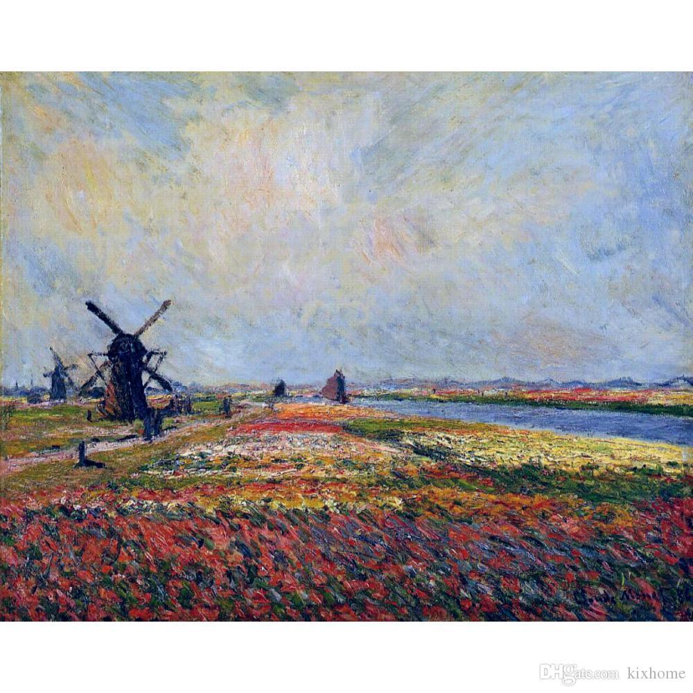 Art moderne Champs de fleurs et moulins à vent près de Leiden Claude Monet peinture à l'huile sur toile décor peint à la main décoration murale