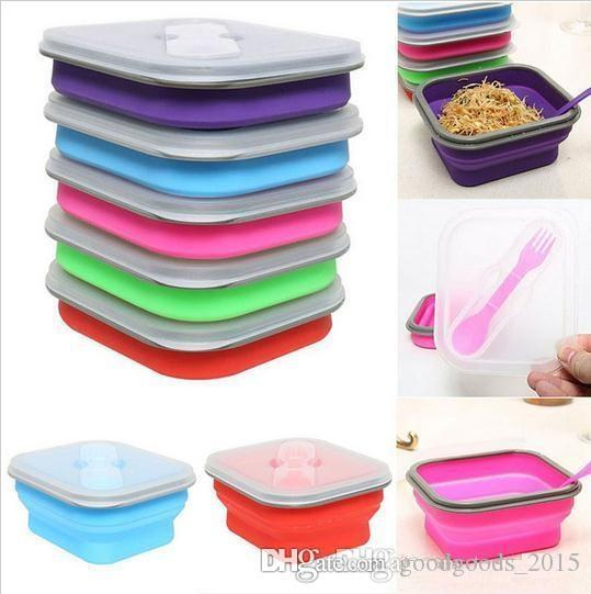 600ml Silicone Collapsible Lunch Box Set Portable Bento Boxes Bowl Folding Picnic Storage Container Lunchbox With Spoon Utensils b669