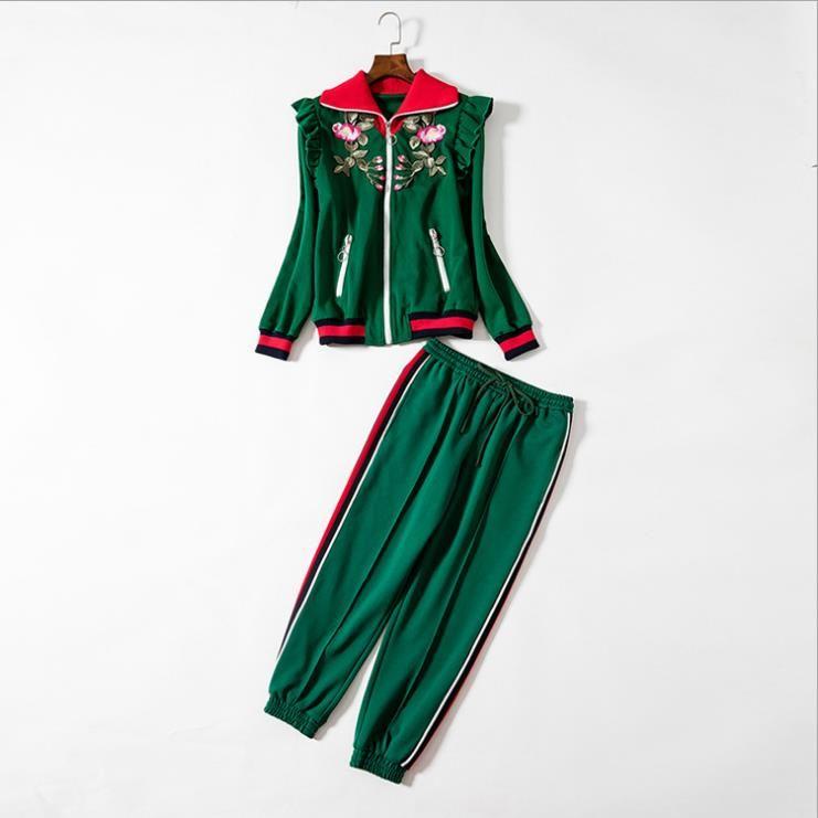 Европейская женская одежда 2018 новый весенний лацкан с длинным рукавом вышитые куртки девять минут брюки костюм-двойка