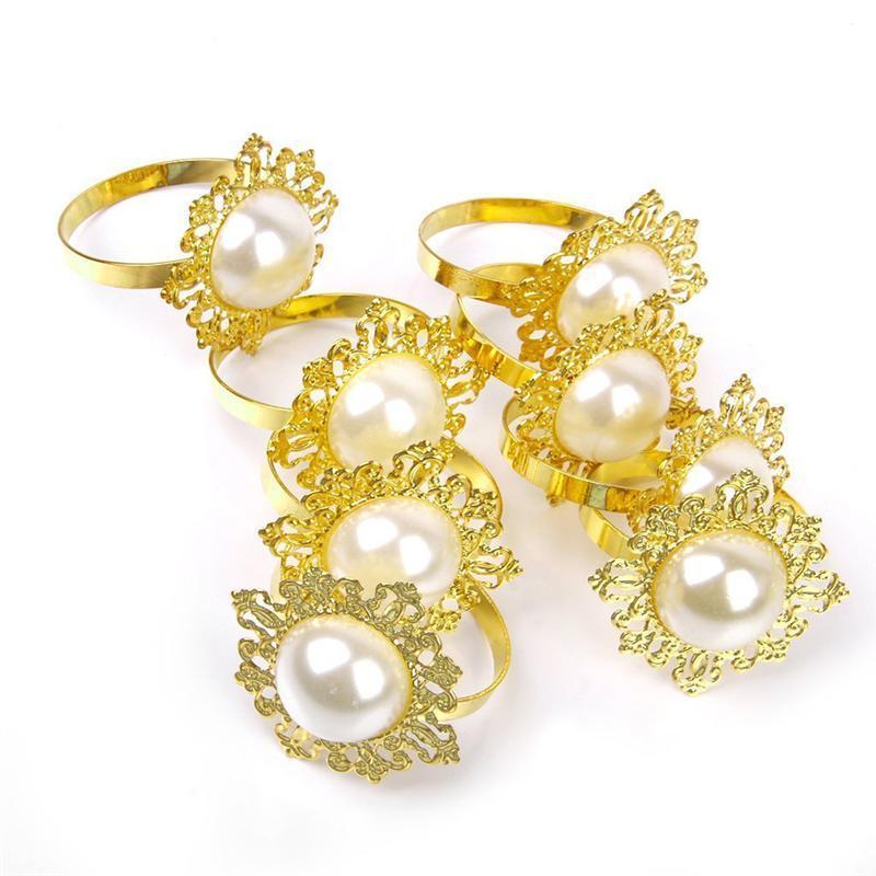 12pcs Pearl Napkin Rings for Table Kitchen Serviette Holder Wedding Banquet Dinner Christmas Decor Favor