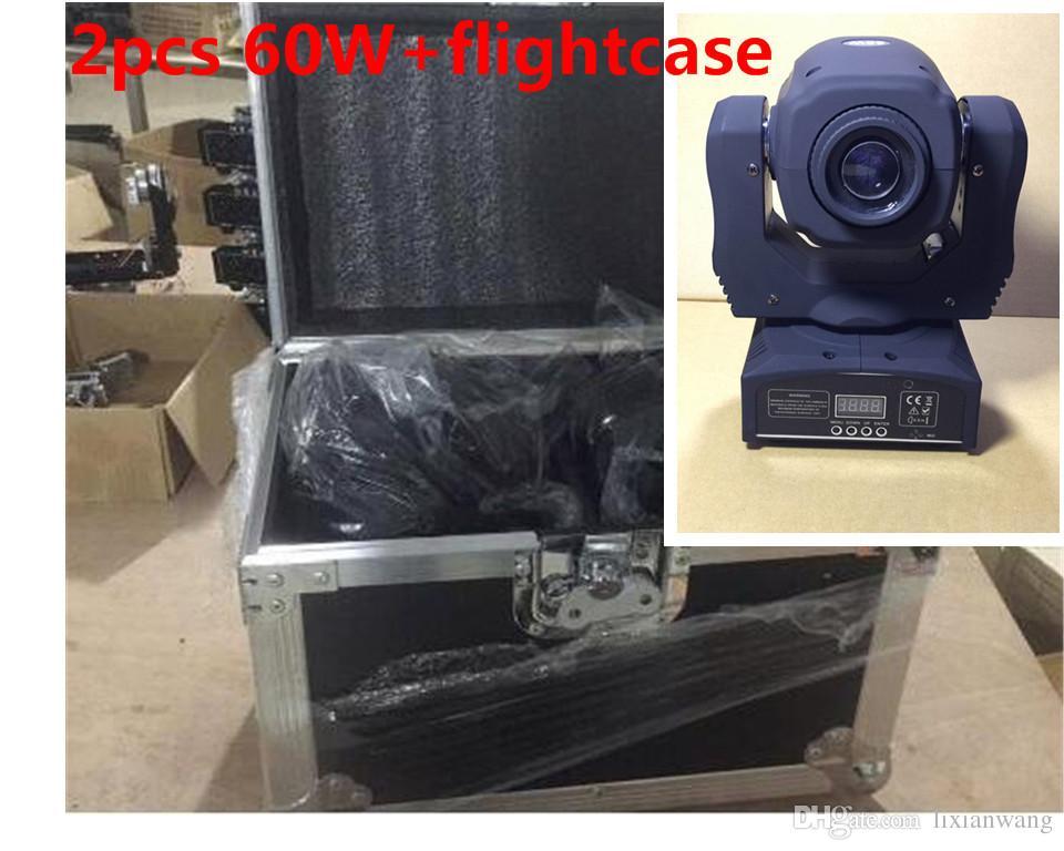 2 PZ 60 W + flightcase LED بقعة نقل رئيس ضوء / USA Luminums 60 W LED DJ بقعة ضوء