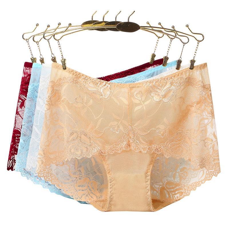 4Pcs/lot ropa interior femenina sexy Lingerie Brief calcinha Women Underwear plus size 5XL Lace rose hollow Women's Panties