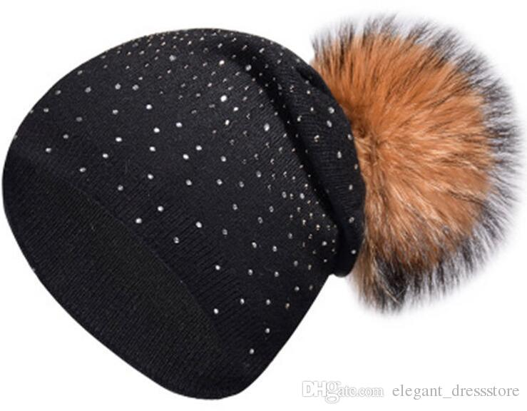 New hot women's point drill knit hat autumn and winter real braid hair knit hat warm cashmere cap