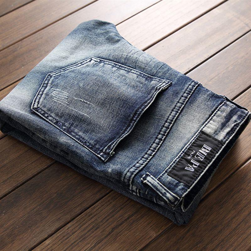 Agujeros de mendigo de alta calidad empalmados para hombre Jeans de verano de peso medio de la vendimia azul falso cremalleras Denim Jeans pantalones de moda pantalones 2018
