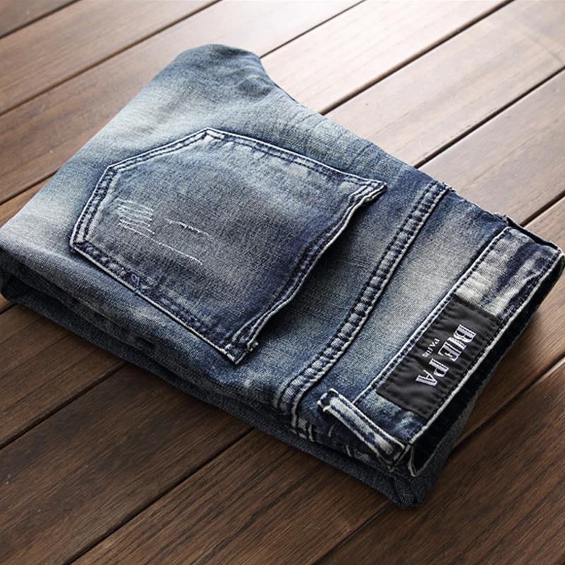 Alta Qualidade Furos de Mendigo Emendados Mens Jeans Verão Midweight Azul Vintage Zíperes Falsos Jeans Jeans Moda Calças Calças 2018