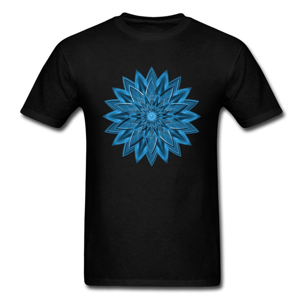 Trendy Blue Mandala Design Male T-shirt Men Short Sleeve Black Tee Shirt Family Custom Cotton Fabric Tops Geometric Flower