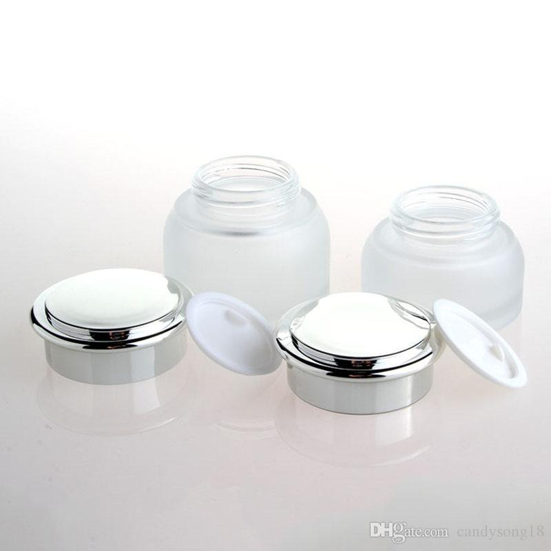 30G 50G Milchglas-Cremetopf Kosmetikdose Kleiner Kosmetikpulverbehälter für Kosmetikverpackung F1576