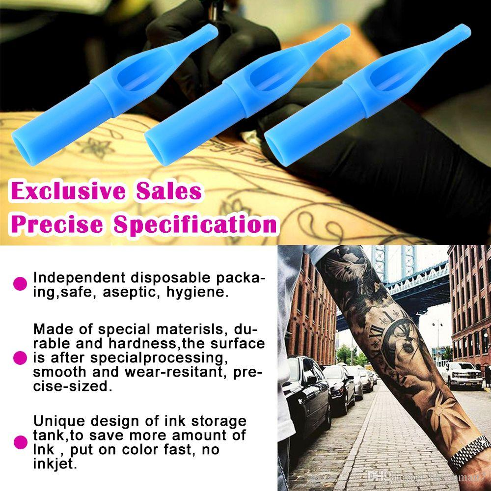50Pcs 3DT/ 5DT/ 7DT/ 9DT/ 11DT Tattoo Tips Professional Different Types Disposable Tattoo Tips Blue Sterile Nozzle Tip Plastic For Tattoo