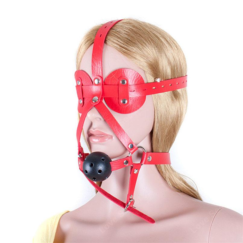 PU Gag Head Couples Sexy Sex Bdsm Toys Ball Solid Adult Games Blindfolds Slave Mouth Bondage Restraints Sex For Leather Harness Tirer