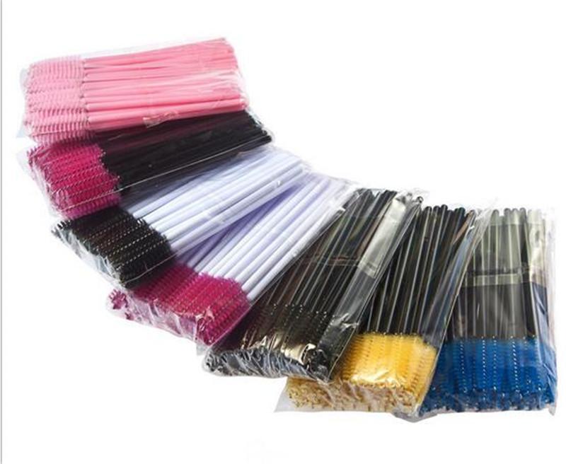 50pcs / pacco pettine del ciglio Monouso mascara colorato strumenti di estensione spazzola pennello sopracciglio strumenti di bellezza spedizione gratuita