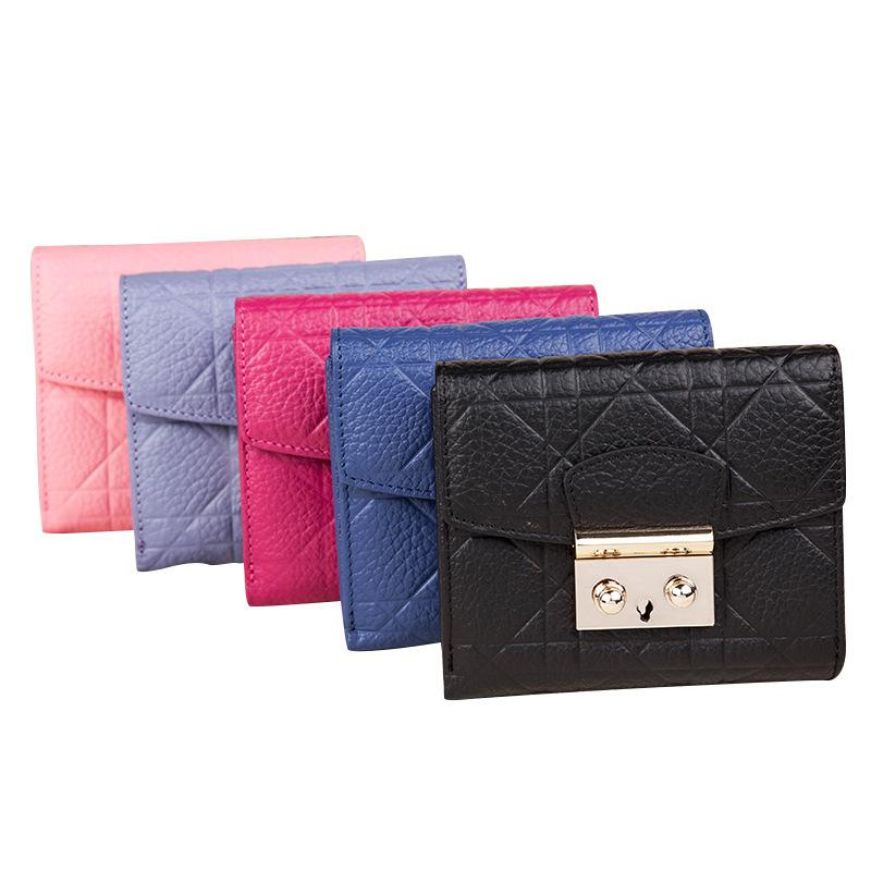 Women Genuine Leather Short Wallet Card Holder Fresh Style Lady Girls Notecase Female Purse With Coin Pocket Clutch Bag
