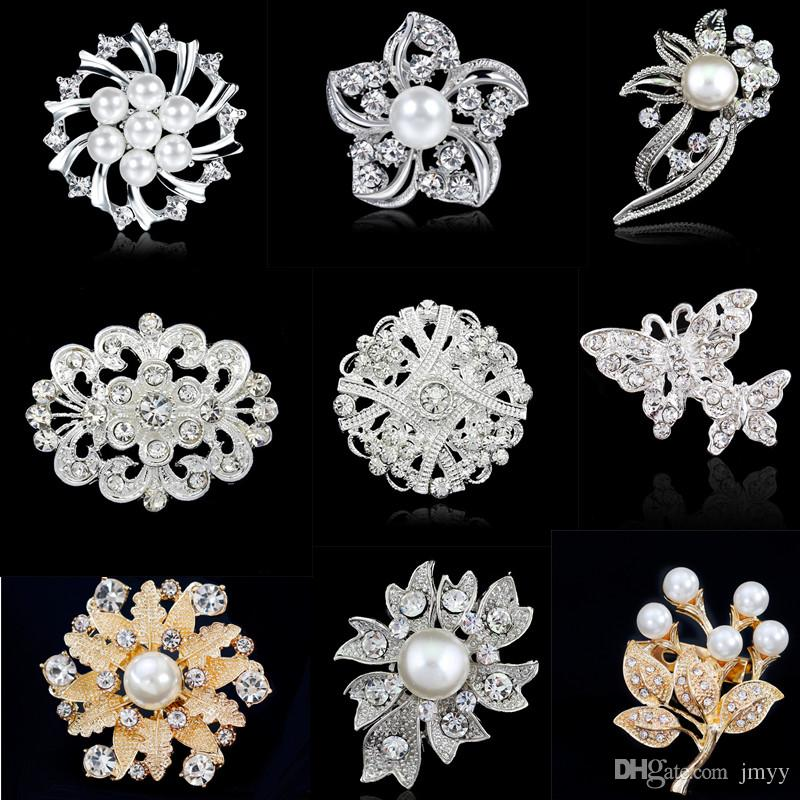 2019 New Fashion Women Wedding Brooches Imitation Pearl Rhinestone Heart Flowers Bowkont Bride Brooches For Banquet Party