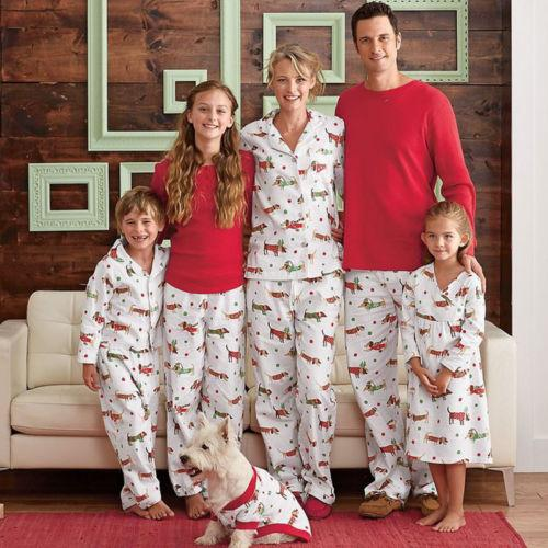 Family Christmas Pajamas With Dog.Hot Christmas Family Match Pajamas Set Adult Infant Kid Women Men Baby Sausage Dogs Print Sleepwear Nightwear Pajamas Set Canada 2019 From Brodksbros