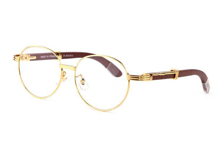 혼 남성 레트로 원 라운드 버팔로 뿔 안경 브랜드 디자이너 나무 선글래스